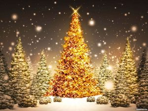 Gold Christmas Tree PowerPoint Background