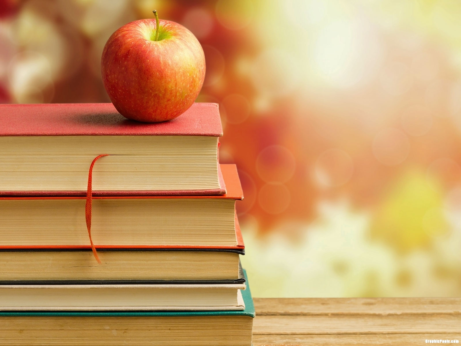 Apple And School Book Background