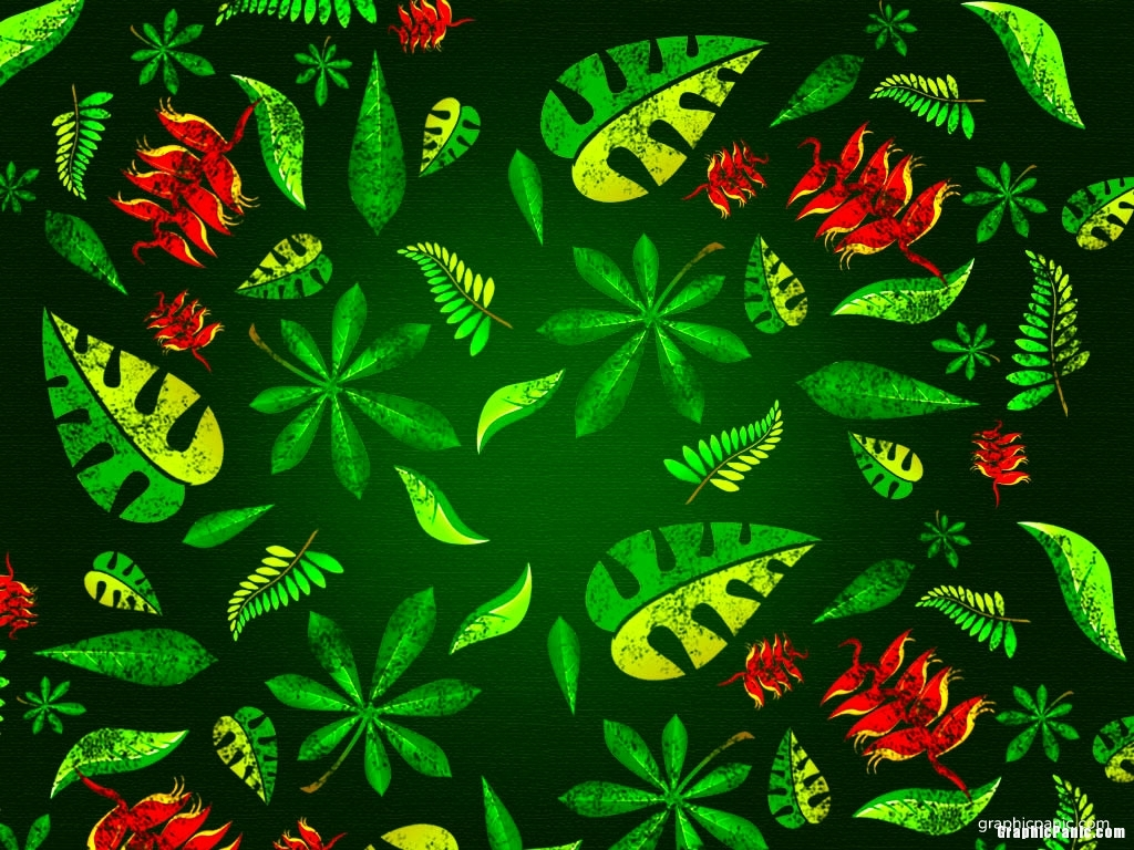 green leaves art background